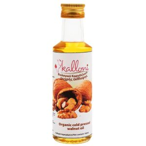 organic cold pressed walnut oil in glasses bottle of 100 ml